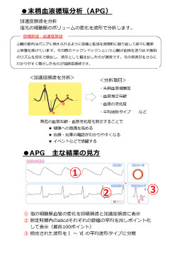 末梢血液循環分析(APG)末梢血管健康度 血管推定年齢 血管の老化度 平均波形タイプ など現在の血管年齢・血管老化度を測定することで